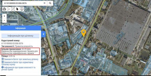 Скрін ділянки. Кадастрова карта