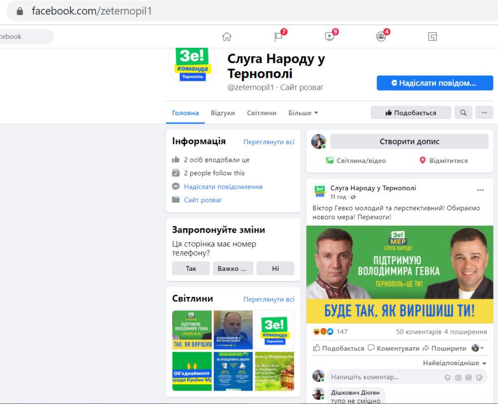 Фейкові повідомлення у Фейсбуці напередодні виборів у Тернополі
